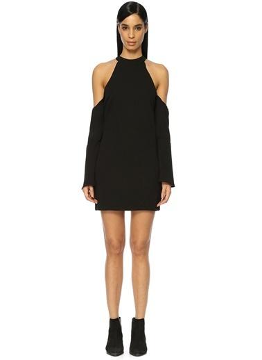 Wyldr Omuzları Açık Mini Elbise Siyah